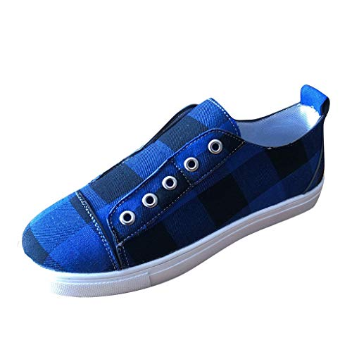 Kiminana Women Fashion Classic Plaid Print Canvas Shoes Casual Comfy Slip-on Flat Shoes Outdoor Sneakers Simple Lazy Shoes