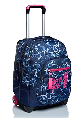Trolley Seven, Dyed Hearts, Blu, 2 in 1 Zaino con Cross-Over System, Scuola & Viaggio