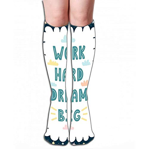 High Socks werken hard droom grote hand getekende kaart werk hard droom grote hand getekende kaart print geweldig frame uw tekst Schilderen Tegel L (50cm)