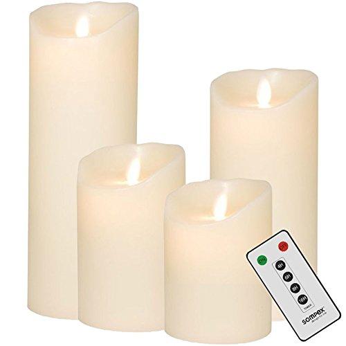 sompex Flame Echtwachs LED Kerze, fernbedienbar, Elfenbein - in verschiedenen Größen, Höhe:4er Set (10-23cm + Fernbedienung)