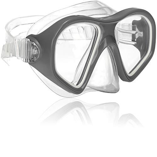 com-four® Taucherbrille für Kinder und Erwachsene - Schnorchelbrille in grau - wasserdichte Schwimmbrille - Tauchmaske (01 Stück - grau)