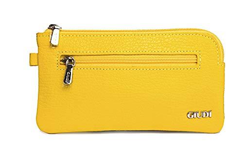 Giudi Estuche de llaves de piel para mujer, color amarillo y azafrán, con compartimento para monedas, llavero de coche de piel auténtica, cremallera