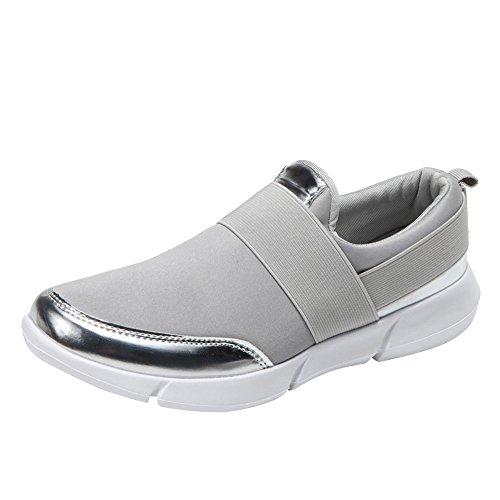 MRULIC Damen Fitnessschuhe Atmungsaktiv Flach mit Klettverschluss Sterne Laufen Sneaker Erwachsene Trainer Sneakers(Grau,38 EU)