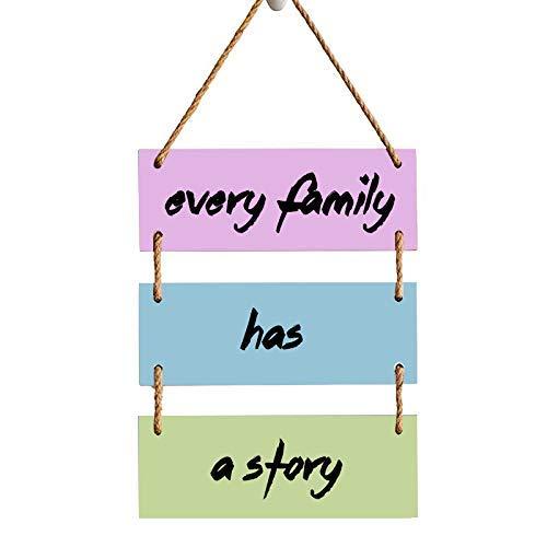 Cartel colgante de madera de 3 piezas con texto en inglés «Every Family Has A Story» para decoración de casa, cocina, baño, granja, jardín, garaje, citas inspiradoras, decoración de pared
