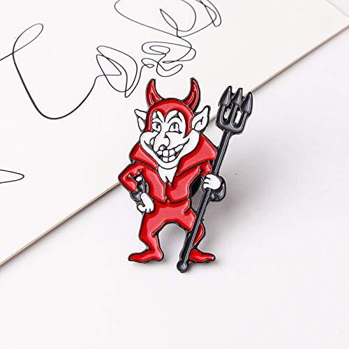 Broschen,Hell Devil Imp Emaille Pins, Abzeichen Brosche Jeanshemd Rucksack Modeschmuck Geschenk für Freunde Männer-D 1PCS