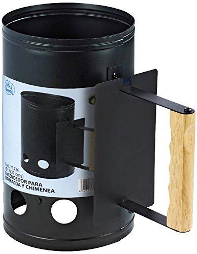 IMEX EL ZORRO 71436-Encendedor Chimenea 17x27 cms con Mango atornillado y puño de Madera. Encendedor para Barbacoa, Negro, 17x17x27 cm