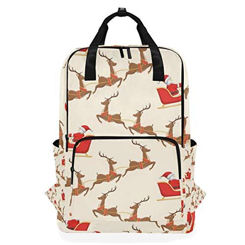 DEZIRO Reindeer Sled Santa Claus Casual Backpack Shoulder Bag