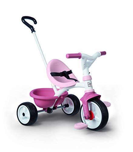 Smoby 740332 - Be Move rosa - Kinderdreirad mit Schubstange, Sitz mit Sicherheitsgurt, Metallrahmen, Pedal-Freilauf, für Kinder ab 15 Monaten