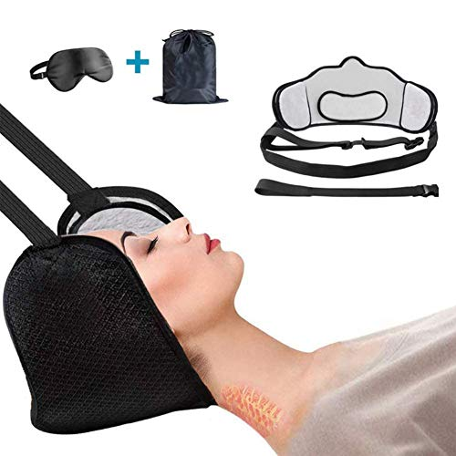 FANGNVREN Neck Traction Hammock, Portable Decompression Cervical Traction Device,Head Hammock for Neck Shoulder Pain Relief And Physical Ther, with Eye Mask And Storage Bag