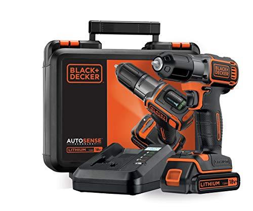 BLACK+DECKER ASD18K-QW - Taladro Atornillador 18V, Autosense y Autoselect, incluye batería litio 1.5Ah y maletín