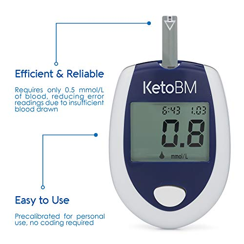 KetoBM Ketone Blood Meter Kit - Complete Monitoring System for Ketogenic Diet and Ketosis Testing (Vial Strips)