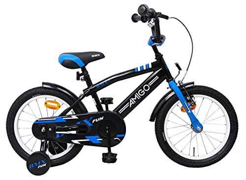Amigo BMX Fun - Bicicleta Infantil de 16 Pulgadas - para niños de 4 a 6 años - con V-Brake, Freno de Retroceso, Timbre y ruedines - Negro/Azul