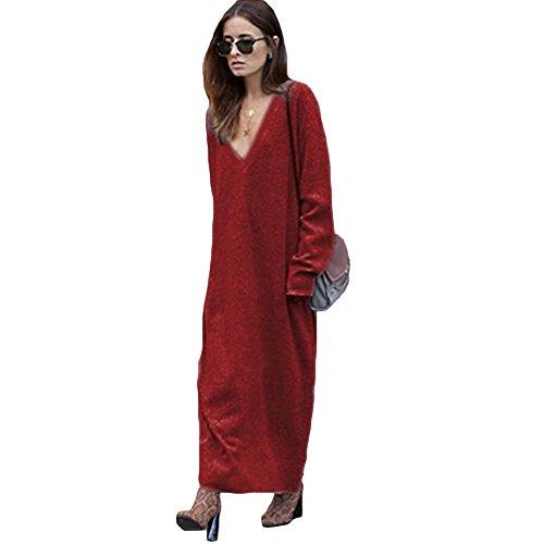 Romacci Women Winter Knitted Sweater Dress Vestito Maglione Longo Casuale da Donna per Inverno V-Collo