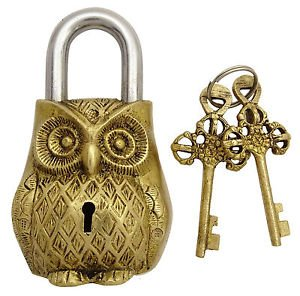 Brass Blessing Antique Style OWL Type Padlock - Lock with Key - Brass – from (5050)