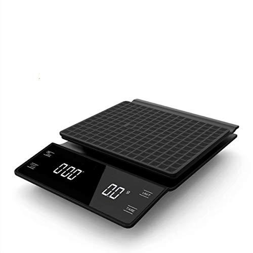 FREELX Báscula de Cocina con Temporizador, Báscula Electrónica Multifunción para Alimentos Pantalla LCD Retroiluminada, Función de Pelado de Café Báscula de Precisión Multifuncional, 3 kg / 0,1 g