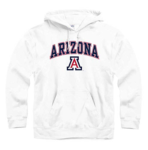 Campus Colors NCAA Adult Arch & Logo Gameday Hooded Sweatshirt (Arizona Wildcats - White, Medium)