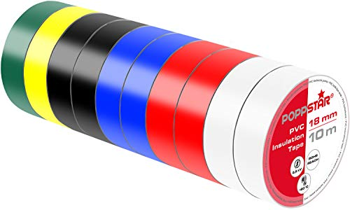 Poppstar - 10x 10m Nastro isolante universale (nastro sigillante in PVC - nastro adesivo), per isolamento - riparazione di conduttori elettrici (18mm di larghezza), colorati