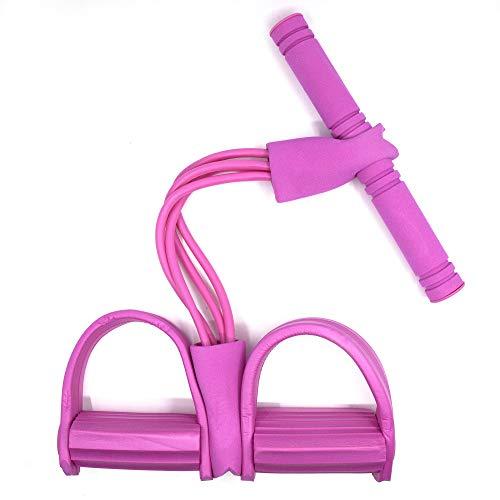 YAVO-EU Pedal-Widerstandsband,4 Tubes Multifunktions spannseil Bodybuilding Expander Resistance Bands situps,für Bauch, Taille, Arm, Beinstrecken (pink)