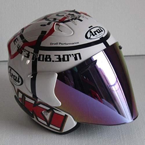 MYSdd Motorradhalbhelm Klassiker Vierjahreszeiten Helm Unisex Persönlichkeit Design Racing Doppel D Ring Schnalle leicht tragbar - Regenbogen XM