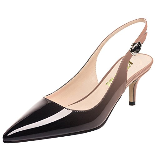 COLETER Slingbacks Pumps for Women,Low Kitten Heels Comfortable Pointy Toe Pumps Shoes Nude-Black 8 US