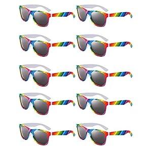 10 Pairs Rainbow Sunglasses Retro Sunglasses Classic 80s Square Sunglasses for Party Celebration Favors (Style 1)
