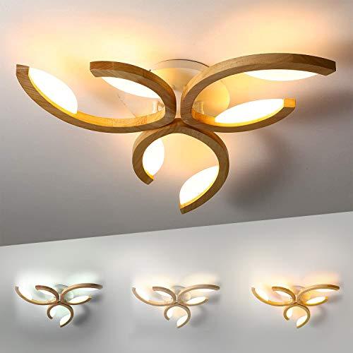 LED Deckenleuchte Holz, Dimmbar Deckenlampe Modern Wohnzimmer-Lampe, Blume-Form Deko Kinderzimmer Deckenlicht, Ultradünne Schlafzimmer Leuchte Holzlampe Decke Zimmerlampe Licht, Inkl Fernbedienung
