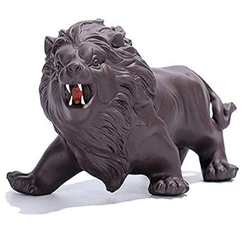 YMXLXL Statua del Leone Feroce Stile Cinese Materiale Sabbia Viola Ornamento di Leone Utilizzato in Case, Uffici, Biblioteche, Tavoli da tè 15,6 * 8,7cm