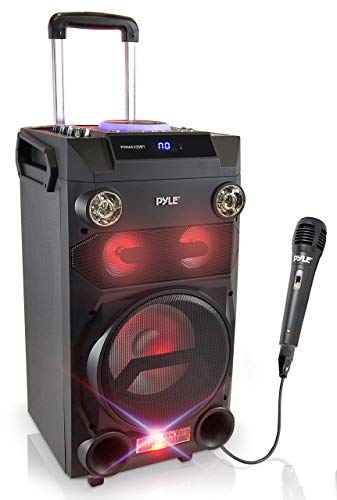 Pyle Outdoor Portable Wireless Bluetooth Karaoke PA Loud speaker - 8'' Subwoofer Sound System with DJ Lights, Rechargeable Battery, FM Radio, USB / Micro SD Reader, Microphone, Remote - PWMA335BT