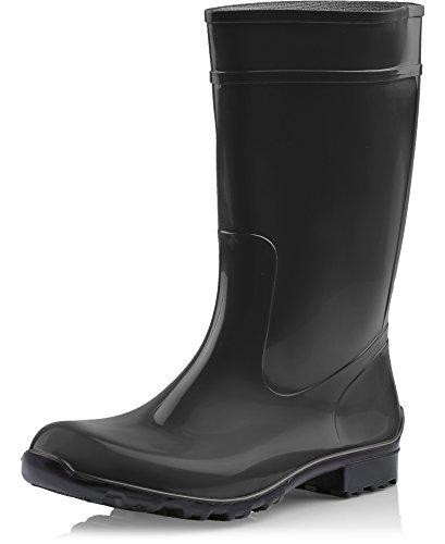Ladeheid Botas de Agua Antideslizantes en PVC Mujer LA-967 (Negro/Negro, 36 EU)