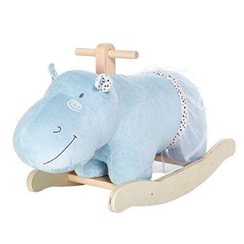 labebe Baby Rocking Horse, Wooden Plush Rocker Toy, Hippopotamus Baby Riding Horse, Toddler Outdoor&Indoor Toy Rocker