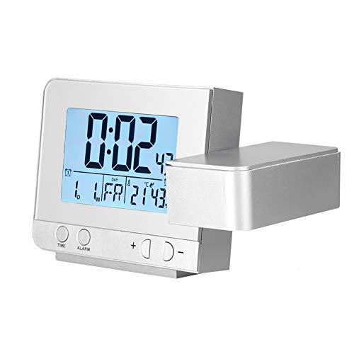 Pomya Projectiewekker, multifunctionele led-projectie, digitale wekker, temperatuur USB 180 graden, ondersteuning voor vrije rotatie, ondersteuning voor USB voor het opladen van de mobiele telefoon (zilver)