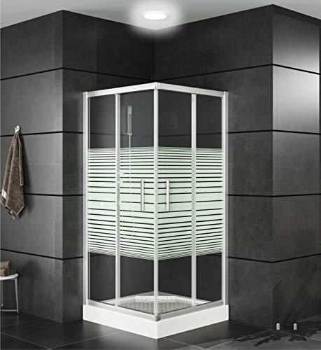 OIMEX Duschkabine mit Tasse Eckeinstieg Duschabtrennung Schiebetüren aus Echt-Glas ESG 80x80 90x90 Transparent Sichtschutz, Größe: 80 x 80 x 195cm, Farbe: Mit Streifen