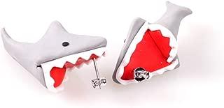 925 Silver Pin Handmade Polymer Clay Cute Dinosaur Shark Earrings For Women Girls,3D Animal Corpse Flower Biting Ears Stud Earrings