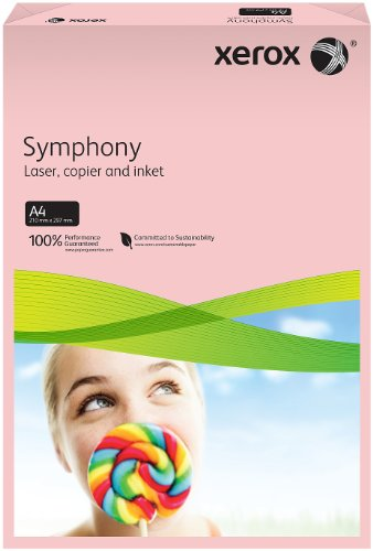Xerox 003R92306 farbiges Druckerpapier Kopierpapier Symphony pastell Din A4, 160 g/m², 250 Blatt pro Pack, rosa
