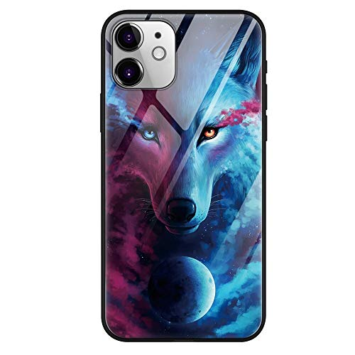 Eouine for Apple iPhone 11 Case, [Anti-Scratch] Shockproof Patterned Tempered Glass Back Cover Case with Soft Silicone Bumper Skin for Apple iPhone11 Smartphone (Wolf)