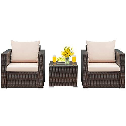 HAPPYGRILL 3PCS Patio Furniture Set with Coffee Table Outdoor Rattan Wicker Conversation Sofa Set with Washable Cushions for Garden Poolside