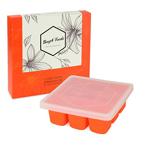 Baby Food Freezer Storage Container, Silicone Cube Tray with Leak Proof Lid by Boop