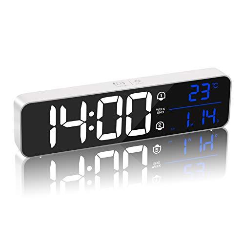 MQUPIN Reloj Despertador Digital, Reloj de cabecera con Espejo Recargable, Pantalla LED con 40 música, Alarma Doble, repetición, 5 Niveles de Brillo, para Dormitorio, Oficina (Blanco)
