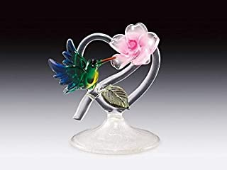 DAR Giftware Blown Glass Hummingbird and Flower on Heart Figurine Collectible Stands 4 Inches Tall