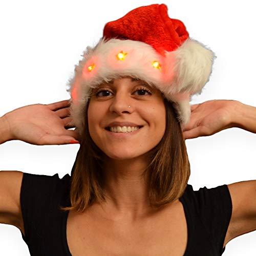 Eventlights Gorro de Papá Noel supersuave con 5 estrellas parpadeantes – Gorro de Papá Noel con estrellas luminosas – Gorro de Navidad LED