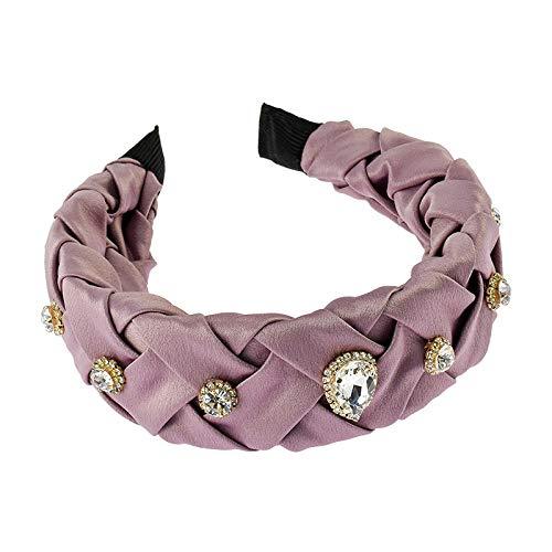 Dames Hoofdbanden Haarbanden Originele vintage handgemaakte cross-knit satijn brede versie legering strass hoofdband haarspeld haaraccessoires E