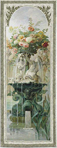 Scenic Panel IV by Pierre-Victor Galland   Woven Tapestry Wall Art Hanging   Elaborate French Fountain with Blooming Floral Centerpiece   100% Cotton USA Size 79x31