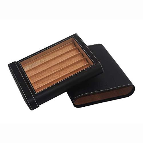 Zigarettenetui-reisen tragbare zigar holzfutter leder oberflächen reise zigaretten humidor compact männer geschenkbox can 5 cigars black ble für das büro neue klassische tragbare zigarrenbefeuchter  