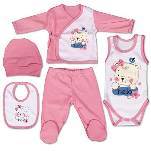 QAR7.3 Completo Vestiti Neonato 3-6 mesi - Set Regalo, Corredino da 5 pezzi: Body, Pigiama, Bavaglino e Cuffietta (Rosa, taglia 62)