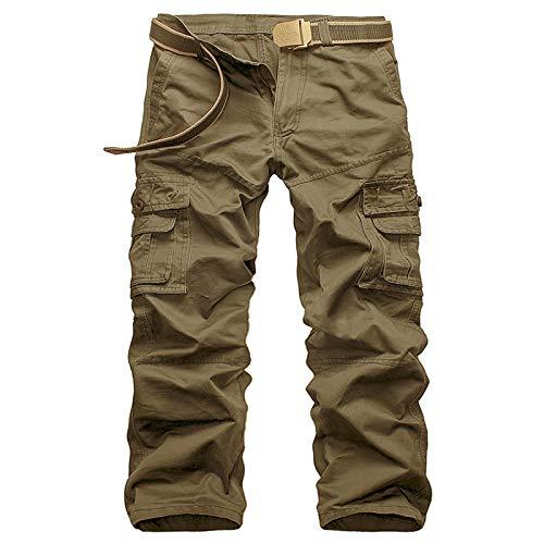 Pantalones Cargo con Costuras para Hombre, Color sólido, Multibolsillos, de Gran tamaño, cómodos, cómodos, Todo fósforo, Pantalones Casuales clásicos 32