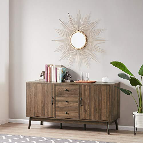 """BELLEZE Hughes Modern 57"""" Sideboard Buffet TV Stand Wood Stand with Cabinet Doors and Drawers, Dark Walnut"""