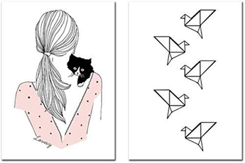 SHKHJBH Póster de Lienzo Origami Baby Girl Wall Art Picture Thousand Paper Crane Nursery Print Poster Girls Room Wall Decor2 Piezas 60x80cm sin Marco