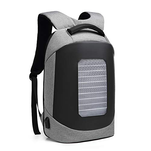 Backpack Advanced Solar Powered Bussiness Anti Theft Laptop Bag Outdoor Casual Sports Shoulders Waterproof Usb Charging Multifunction 16 Inch Rucksack Men Women,Gray