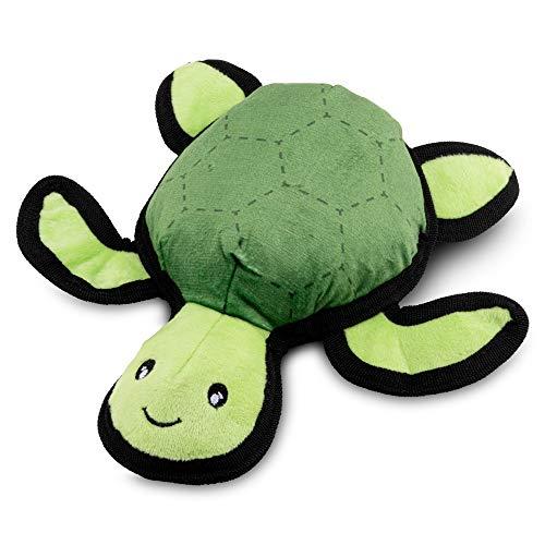 Beco Pets Hundespielzeug Tommy die Schildkröte, rau und robust, interaktives Hundespielzeug mit Quietschelement, Medium, grün