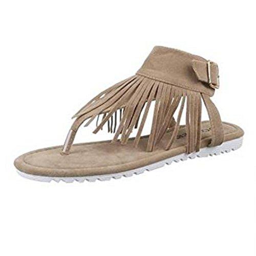 Modische Italy Damen Sandalette Sandale im Indianer Hippie Look mit Fransen Wildleder Optik (37, Beige)